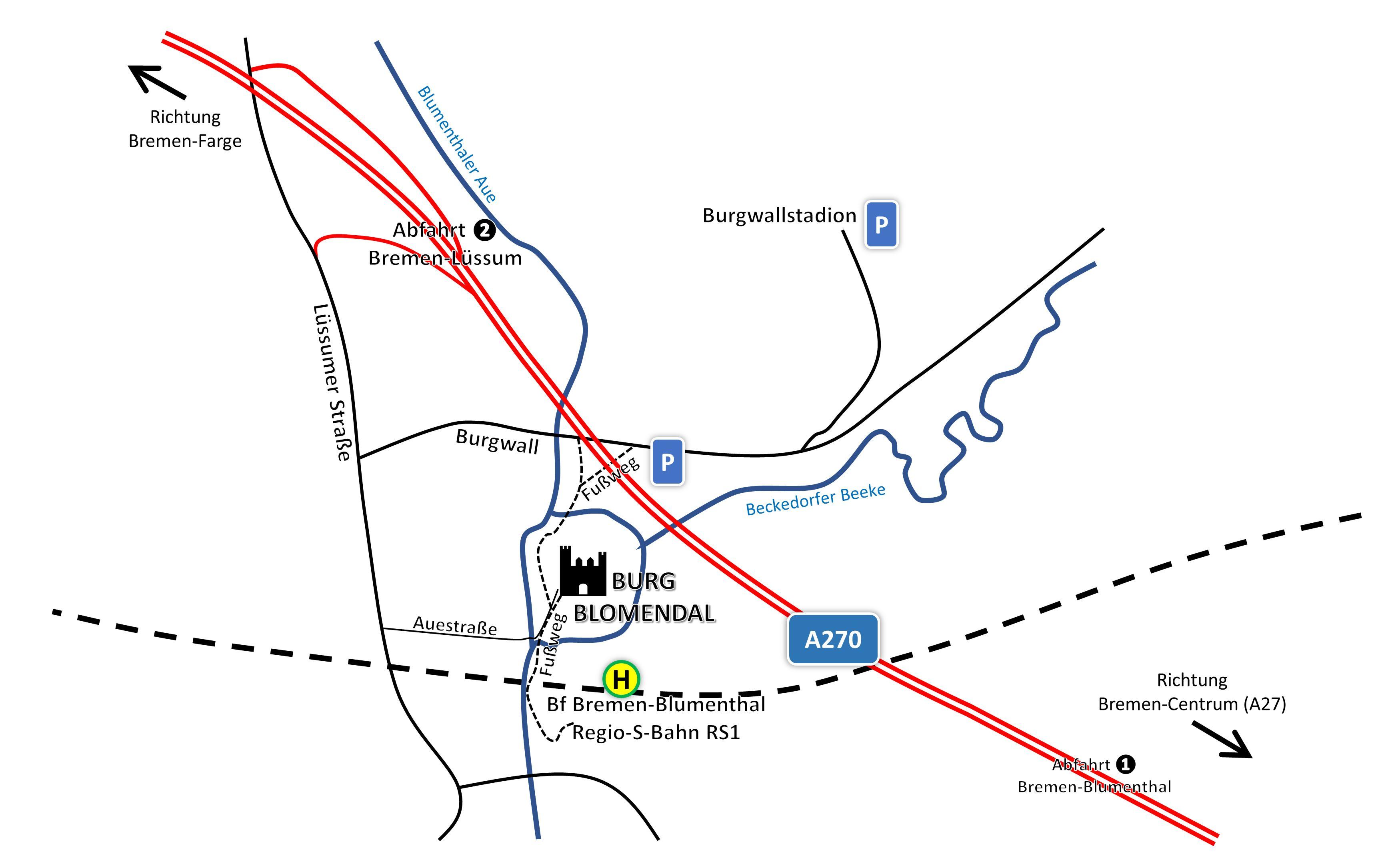 Anfahrtsskizze Burg Blomendal