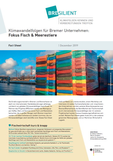 """BREsilient-Fact Sheet zu Thema """"Klimawandelfolgen für Bremer Unternehmen: Fisch und Meerestiere""""."""