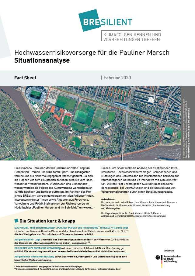 """Ansicht des Fact Sheets """"Hochwasserrisikovorsorge für die Pauliner Marsch - Situationsanalyse"""""""
