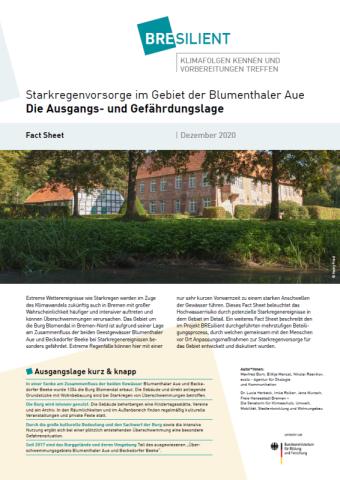 """Ansicht des Fact Sheets """"Starkregenvorsorge im Gebiet der Blumenthaler Aue - Die Ausgangs- und Gefährdungslage"""""""